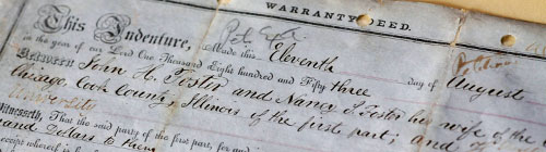 Warranty Deed transferring the Foster Farm to Northwestern University, 1853. Photograph by Andrew Campbell
