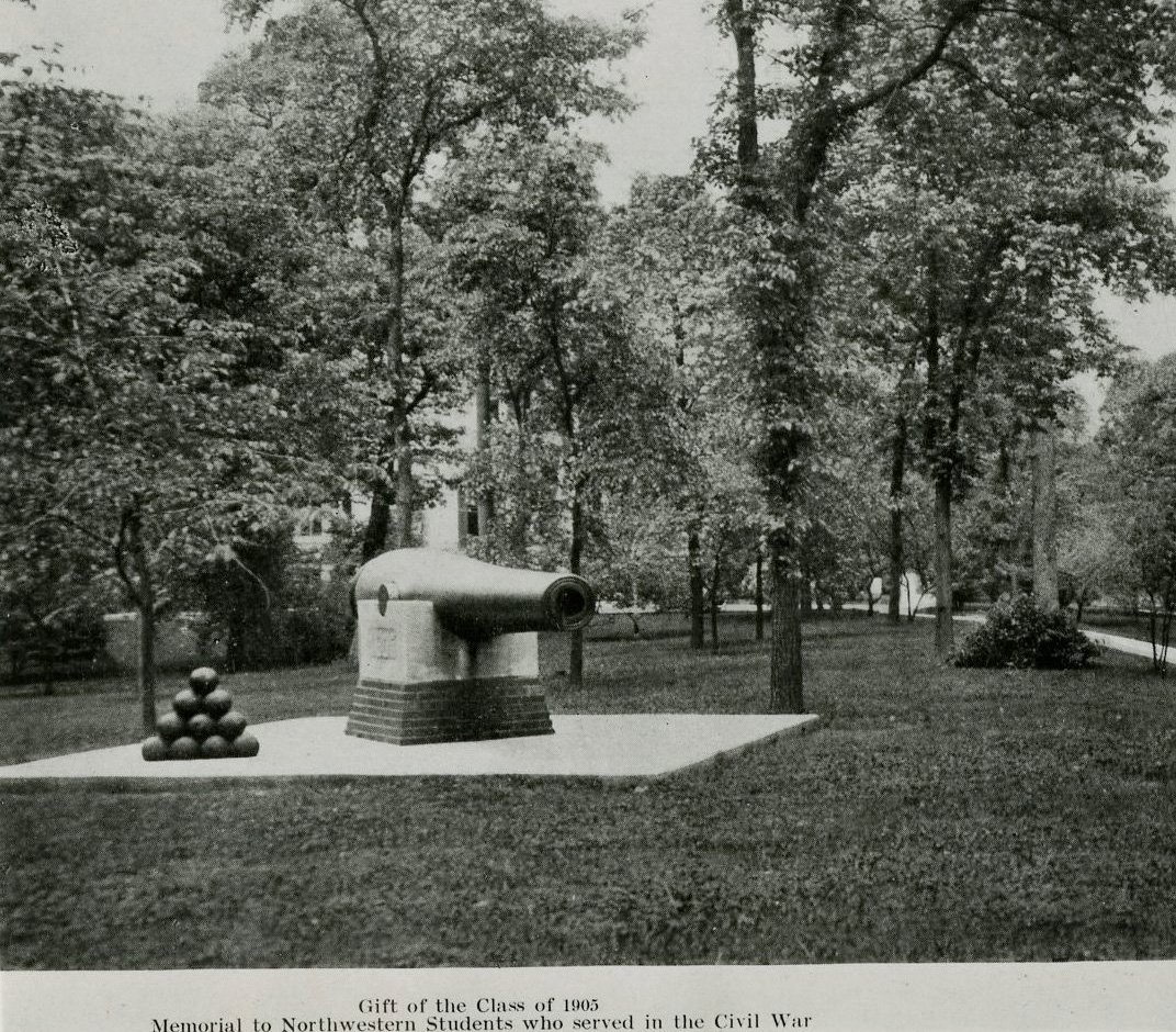 Civil War cannon (from Fort Wadsworth, NY) on NU campus--gift of Class of 1905