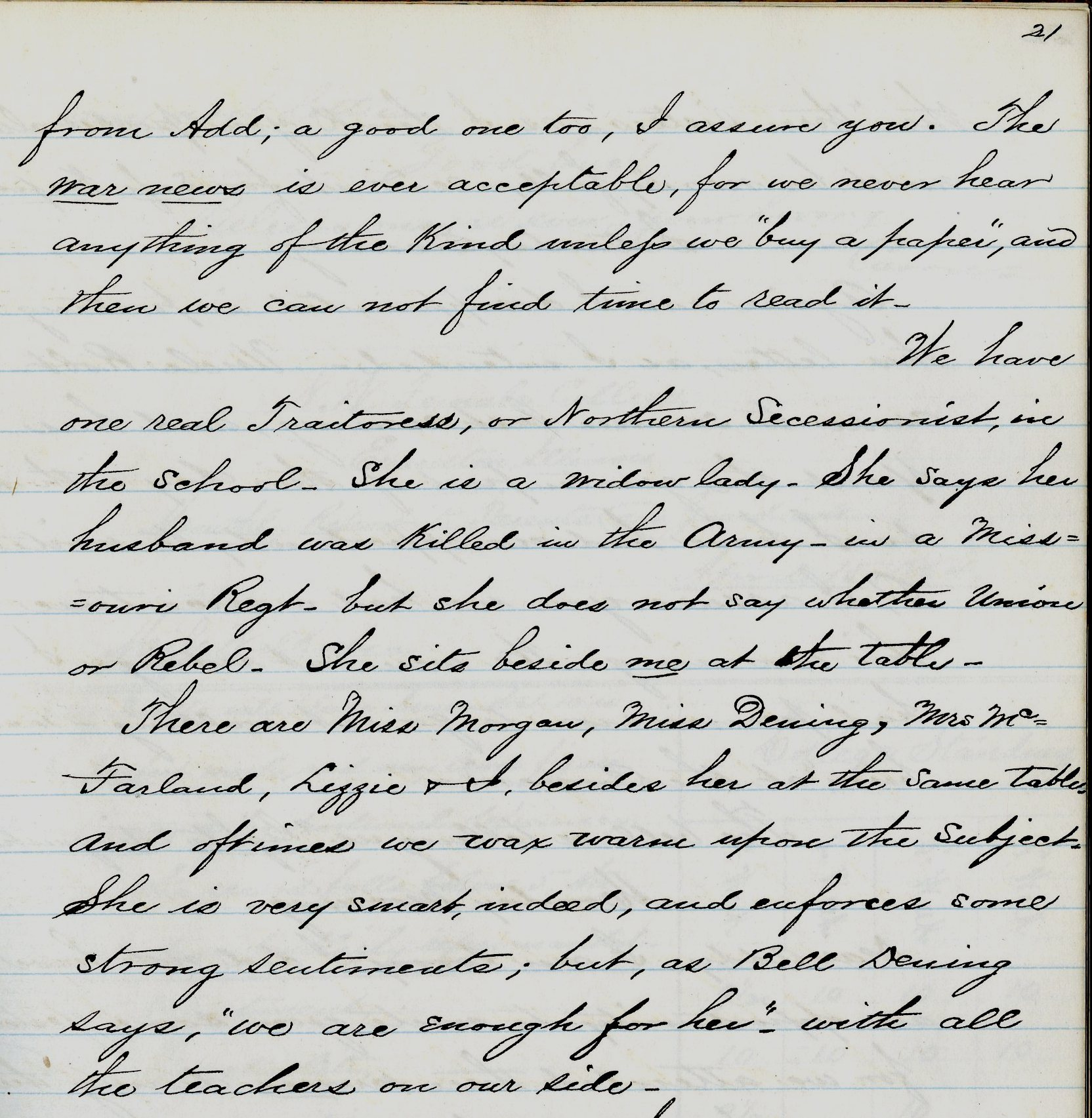 "Carrie Walkup diary, p. 21, describing a ""Northern Secessionist"" at her school"